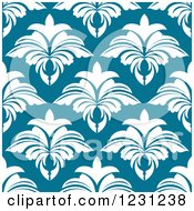 Clipart Of A Seamless White And Blue Arabesque Damask Background Pattern Royalty Free Vector Illustration