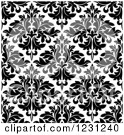 Clipart Of A Seamless Black And White Arabesque Damask Background Pattern 11 Royalty Free Vector Illustration