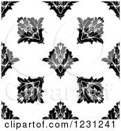 Clipart Of A Seamless Black And White Arabesque Damask Background Pattern 13 Royalty Free Vector Illustration