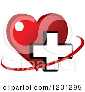 Clipart Of A Red Heart And Medical Cross 4 Royalty Free Vector Illustration