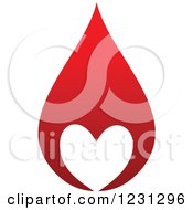 Clipart Of A Red Blood Droplet With A White Heart Royalty Free Vector Illustration