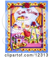 Clay Sculpture Clipart Tea Time Snack And Tea Scene Royalty Free 3d Illustration