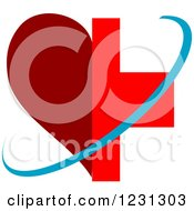 Clipart Of A Blue Swoosh Over A Half Red Heart And Medical Cross Royalty Free Vector Illustration
