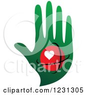 Clipart Of A Red Heart Orb Over A Green Hand Royalty Free Vector Illustration