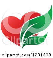 Clipart Of A Red Heart And Pharmaceutical Leaves Royalty Free Vector Illustration