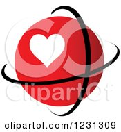 Clipart Of A Red Heart Globe And Rings Royalty Free Vector Illustration