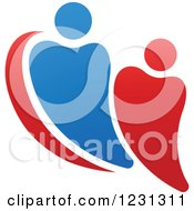 Clipart Of A Blue And Red Couple Forming A Heart Royalty Free Vector Illustration