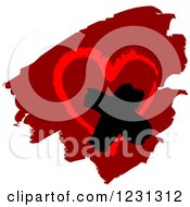 Clipart Of A Painted Heart With A Cross Royalty Free Vector Illustration