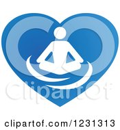 Clipart Of A Person Meditating On A Blue Heart Royalty Free Vector Illustration