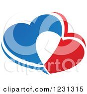 Clipart Of Blue White And Red Hearts Royalty Free Vector Illustration
