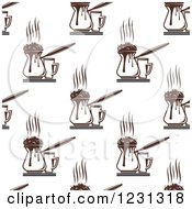 Clipart Of A Seamless Background Pattern Of Coffee Frothing Pitchers And Cups Royalty Free Vector Illustration