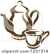 Clipart Of A Brown Tea Or Coffee Pot With A Cup Royalty Free Vector Illustration