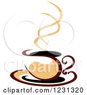 Clipart Of A Tan And Brown Hot Steamy Coffee Cup 10 Royalty Free Vector Illustration