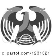 Clipart Of A Gray Eagle With Outstretched Wings Royalty Free Vector Illustration