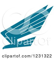 Clipart Of A Profiled Teal Eagle Royalty Free Vector Illustration