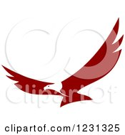 Clipart Of A Maroon And White Flying Bald Eagle Royalty Free Vector Illustration