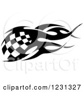 Clipart Of A Black And White Flaming Checkered Racing Flag Royalty Free Vector Illustration