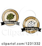 Clipart Of Beer Brewery And Hops Labels Royalty Free Vector Illustration by Vector Tradition SM