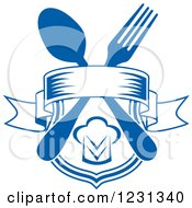 Clipart Of A Blue Banner And Shield With A Chef Hat And Silverware Royalty Free Vector Illustration by Vector Tradition SM
