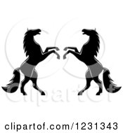 Clipart Of Two Black And White Rearing Horses 4 Royalty Free Vector Illustration