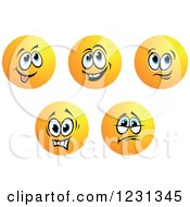 Clipart Of Round Yellow Smiley Face Emoticons In Different Moods 3 Royalty Free Vector Illustration