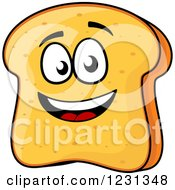 Clipart Of A Happy Bread Slice Character Royalty Free Vector Illustration