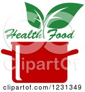 Clipart Of A Red Pot With Green Leaves And Health Food Text Royalty Free Vector Illustration