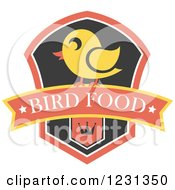 Clipart Of A Chick On A Bird Food Banner And Crown Shield Royalty Free Vector Illustration