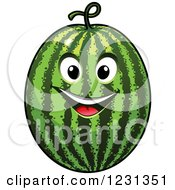 Clipart Of A Smiling Watermelon Character Royalty Free Vector Illustration
