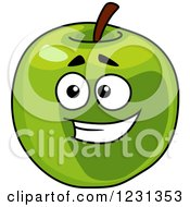 Clipart Of A Smiling Green Apple Character Royalty Free Vector Illustration