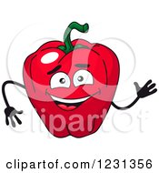 Clipart Of A Waving Red Bell Pepper Character Royalty Free Vector Illustration