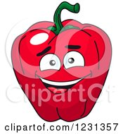 Clipart Of A Smiling Red Bell Pepper Character Royalty Free Vector Illustration