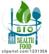 Clipart Of A Blue Bowl And Silverware With Green Bio Health Food And Leaves Text Royalty Free Vector Illustration