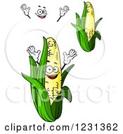 Clipart Of A Smiling Corn Character Royalty Free Vector Illustration