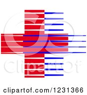 Clipart Of A Red And Blue Lined Medical First Aid Cross Royalty Free Vector Illustration
