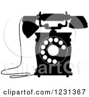 Clipart Of A Retro Black And White Desk Telephone 7 Royalty Free Vector Illustration