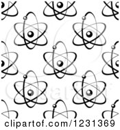 Clipart Of A Black And White Seamless Atom And Molecule Pattern 4 Royalty Free Vector Illustration