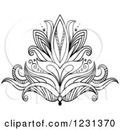 Clipart Of A Black And White Henna Lotus Flower 4 Royalty Free Vector Illustration