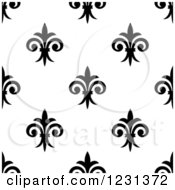 Seamless Black And White Fleur De Lis Background Pattern 2
