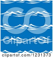 Clipart Of A Seamless Background Pattern Of Ocean Surf Waves On Blue 3 Royalty Free Vector Illustration