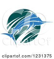 Clipart Of A Leaping Blue Marlin Fish And Teal Wave Royalty Free Vector Illustration
