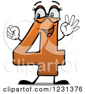 Clipart Of A Happy Number 4 Mascot Holding Up Four Fingers Royalty Free Vector Illustration