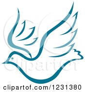 Clipart Of A Flying Teal Dove Royalty Free Vector Illustration by Vector Tradition SM