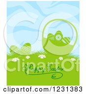 Clipart Of A Happy Easter Greeting With Eggs And A Bsket Under A Blue Sky Royalty Free Vector Illustration by Vector Tradition SM