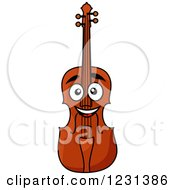 Clipart Of A Happy Violin Royalty Free Vector Illustration