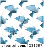 Clipart Of A Seamless Background Pattern Of Blue Origami Doves Royalty Free Vector Illustration