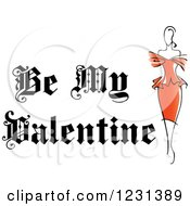 Clipart Of A Be My Valentine Text With A Lady In Red Royalty Free Vector Illustration
