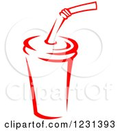 Clipart Of A Red Fountain Soda Royalty Free Vector Illustration