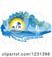 Clipart Of A Sailboat Near An Island At Sunset Royalty Free Vector Illustration by Vector Tradition SM