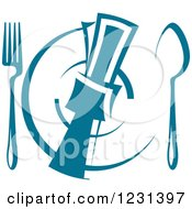 Clipart Of A Teal Napkin On A Plate With Silverware Royalty Free Vector Illustration
